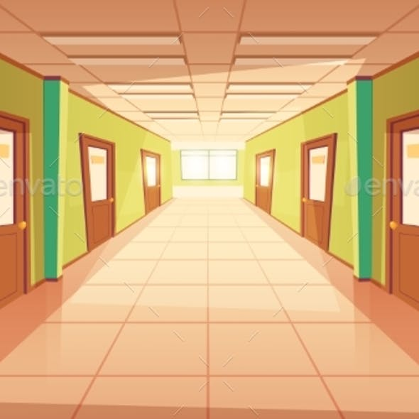 Vector Cartoon School or College Hallway