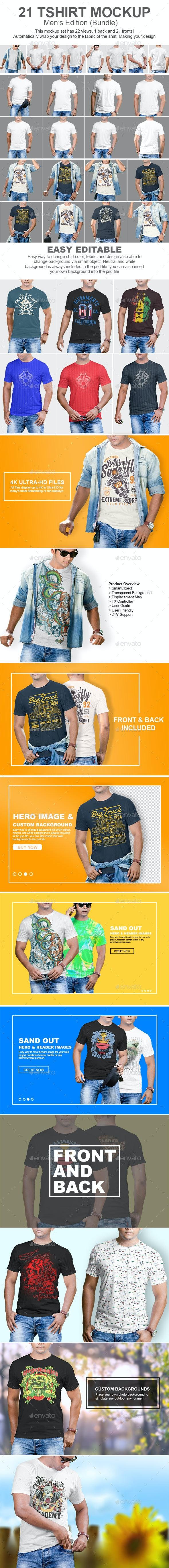21 Mens Tshirt Mockup Bundle - T-shirts Apparel