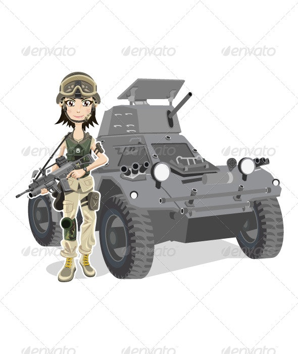 Female Soldier - People Characters
