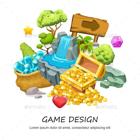 Cartoon Game Design Concept - Miscellaneous Vectors