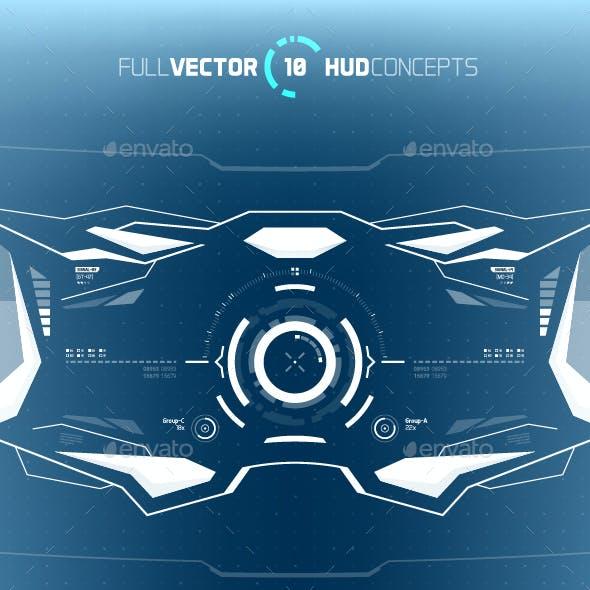 Conceptual 10 Hi-Tech HUD Set