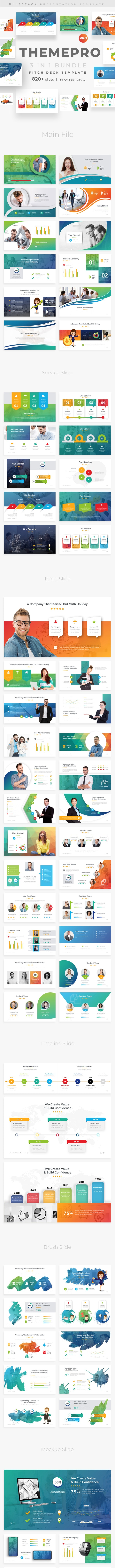 3 in 1 Themepro Pitch Deck  Bundle Powerpoint Template - Creative PowerPoint Templates