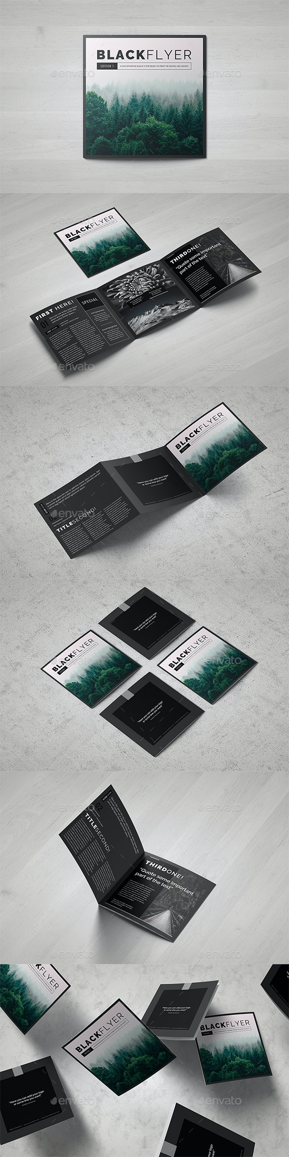 BlackFlyer Square Trifold - Brochures Print Templates