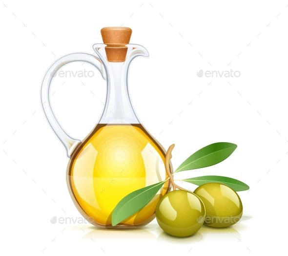 Green Olive Oils Bottle with Cork - Food Objects