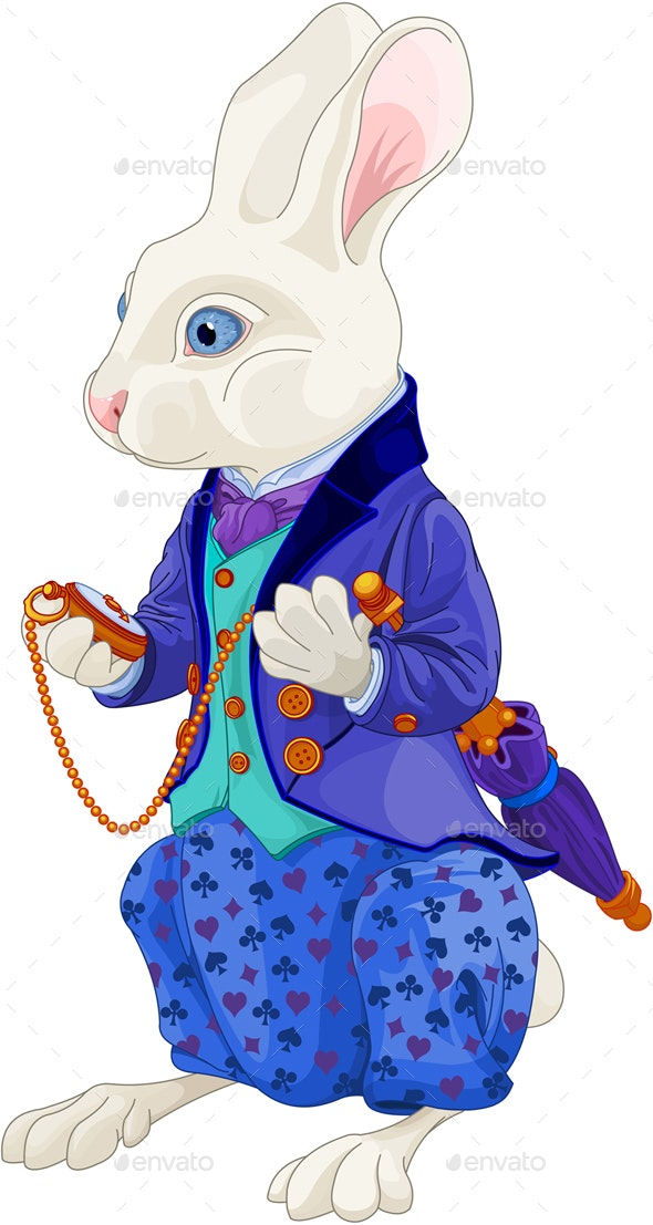 White Rabbit Holds Watch - Animals Characters