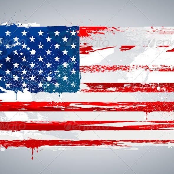 Grunge USA national flag