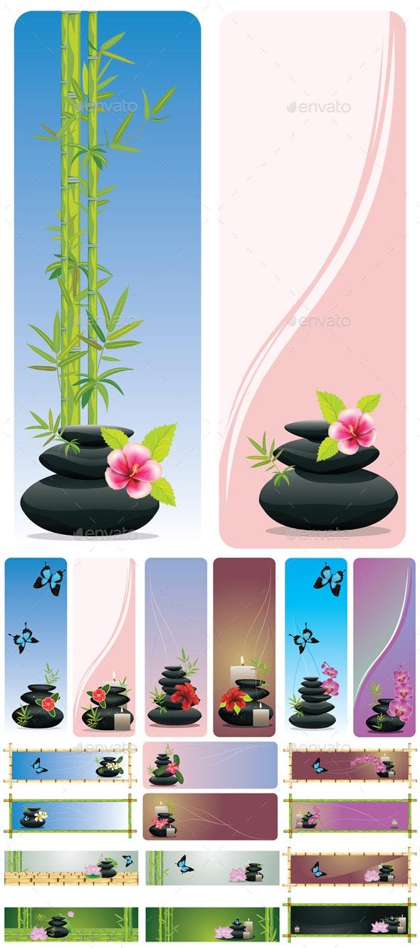 Flower and Zen Stones Banner - Health/Medicine Conceptual