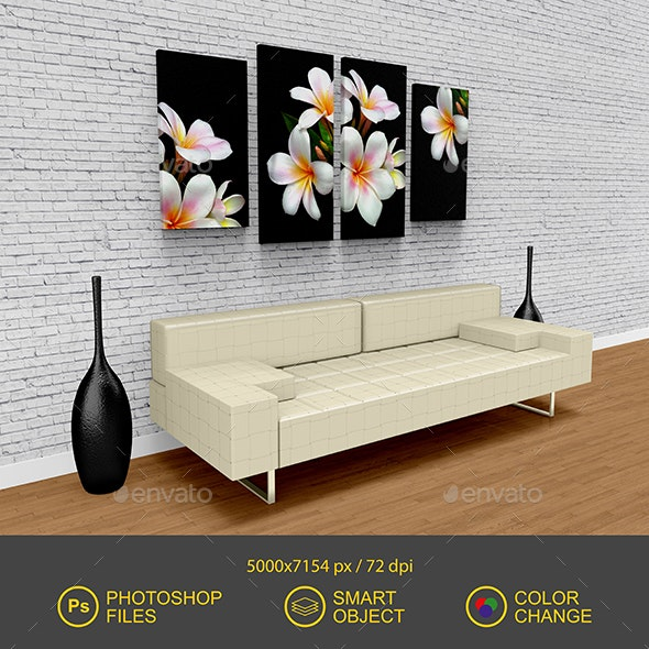 Canvas Picture Mockup - Product Mock-Ups Graphics
