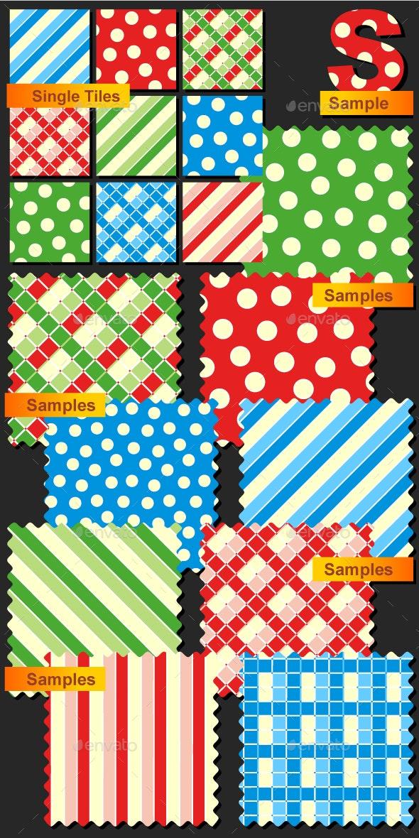 Seamless Patterns - Polka-dots, Plaids and Stripes - Christmas Seasons/Holidays