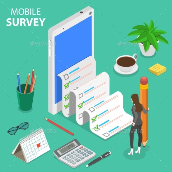 Mobile Survey Flat Isometric Vector Concept - Computers Technology