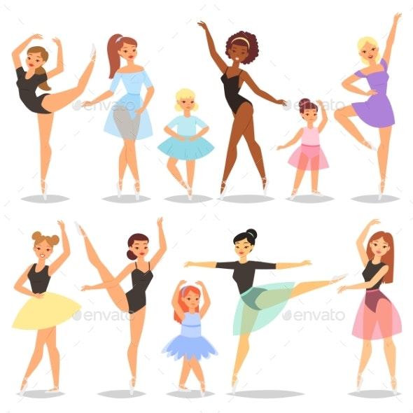 Ballet Dancer Vector Ballerina Character Dancing - People Characters