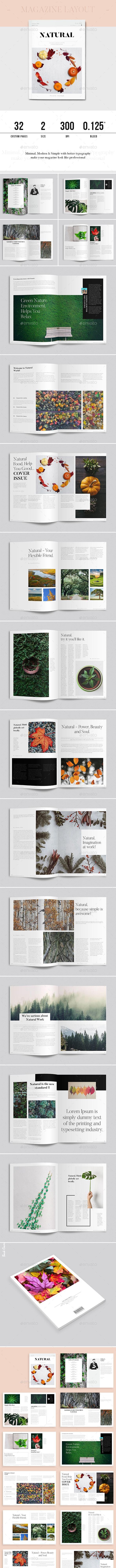 Natural Magazine Layout - Magazines Print Templates