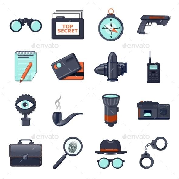 Spy Icons Set Cartoon Style - Miscellaneous Vectors
