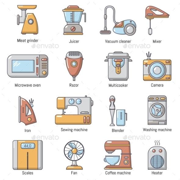 Domestic Appliances Icons Set Cartoon Style - Miscellaneous Vectors