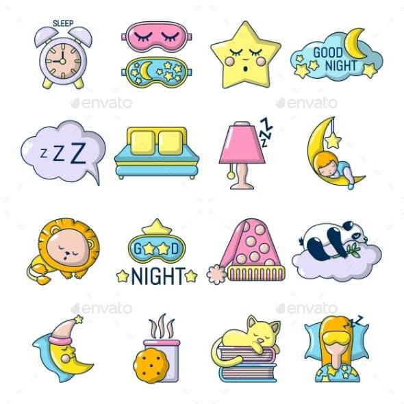 Sleeping Icons Set Cartoon Style