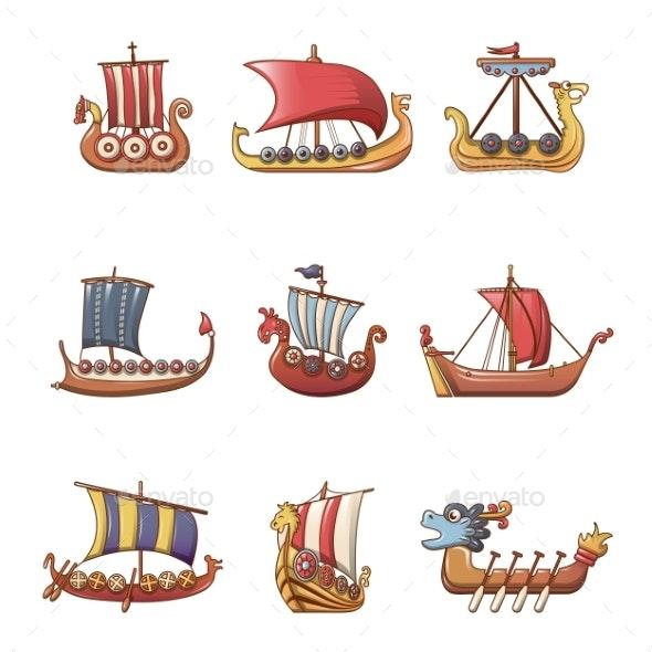 Viking Ship Boat Drakkar Icons Set Cartoon Style - Man-made Objects Objects