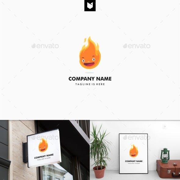 Cute Flame Fire Head Logo Mascot