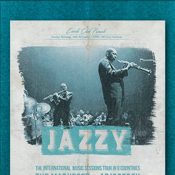 Jazzy Oldstyle Music Party Flyer
