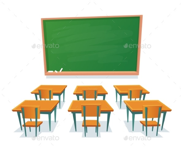 School Chalkboard and Desks Empty Blackboard - Miscellaneous Vectors