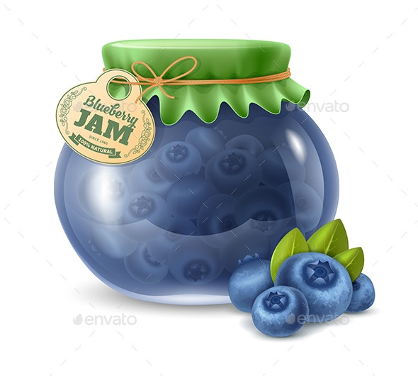 Blueberry Jam in a Glass Jar - Food Objects