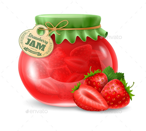 Strawberry Jam in a Glass Jar - Food Objects