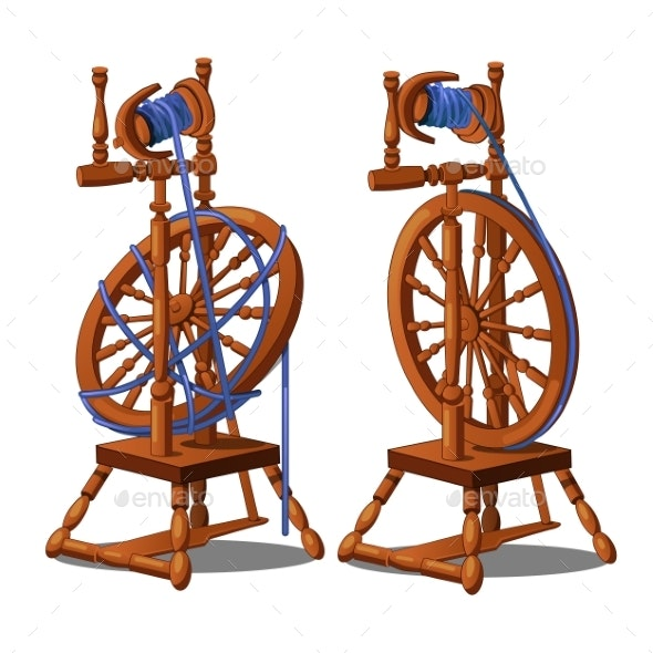 Set of a Working and Broken Antique Spinning Wheel - Man-made Objects Objects