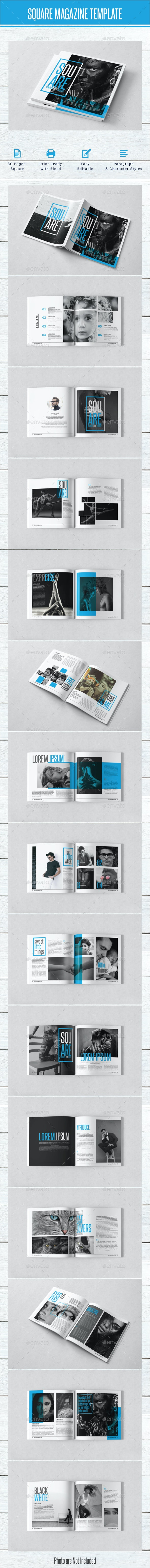 Square Magazine Template - Magazines Print Templates
