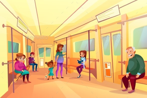People in Subway Metro Train Vector Illustration - People Characters