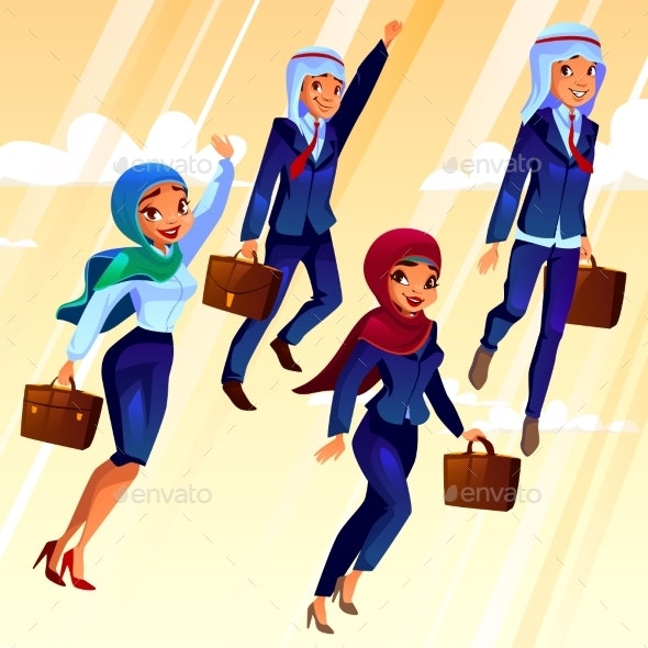 Vector College Arab Students in University - People Characters