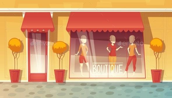 Vector Cartoon Shop Window of Boutique - Buildings Objects