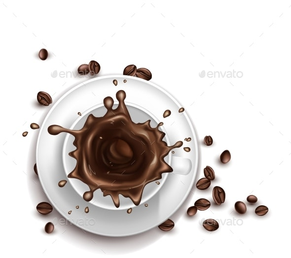 Vector Realistic Cup of Coffee with Splashing - Food Objects