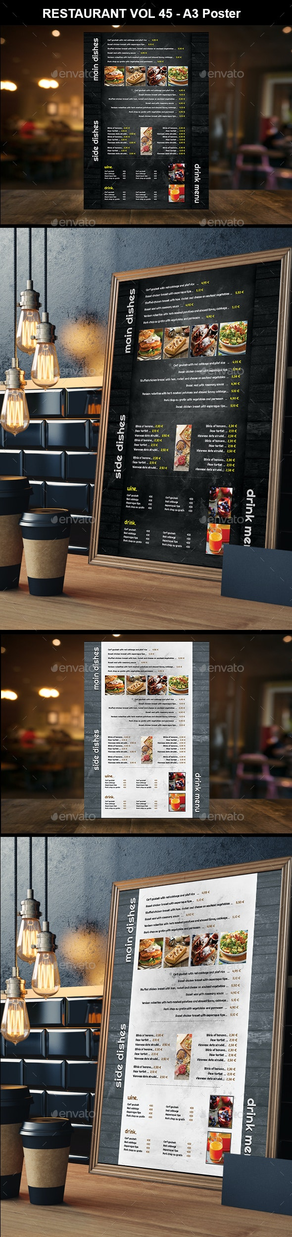 Restaurant A3 Poster Vol 33 - Food Menus Print Templates