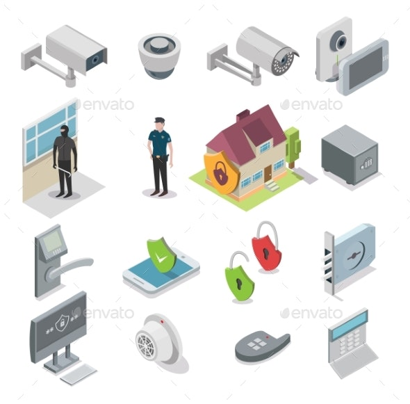 Home Security Vector Isometric Icon Set - Communications Technology