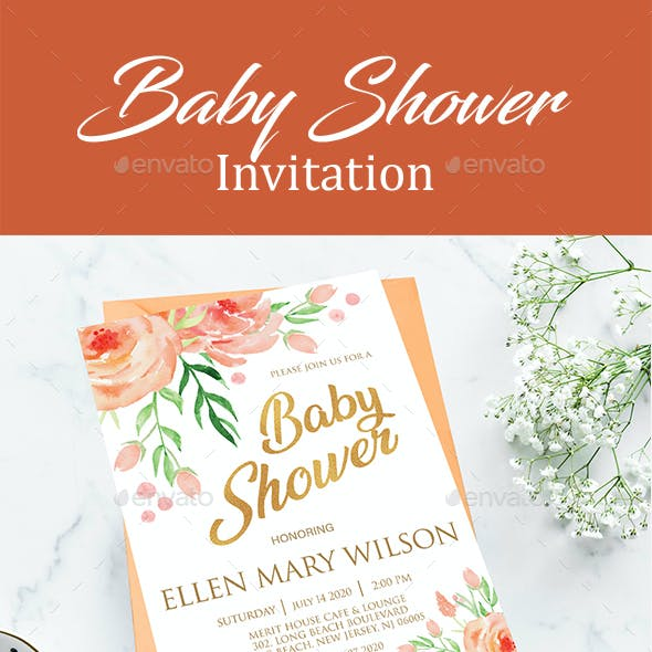 Floral Baby Shower Invitation Card