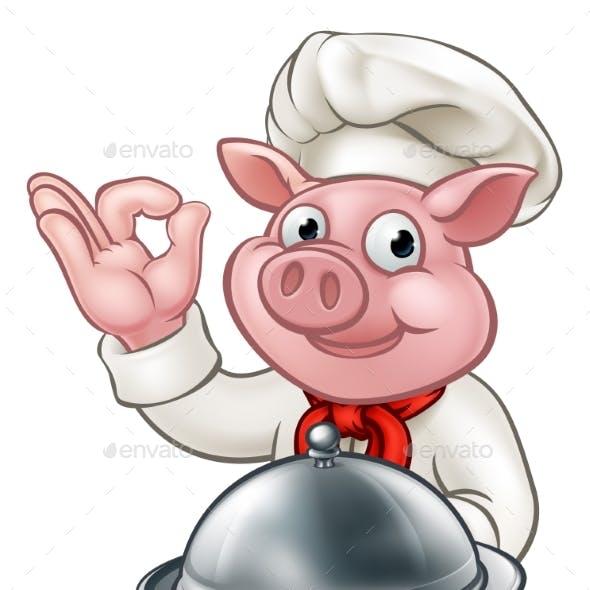 Pig Cartoon Chef Character