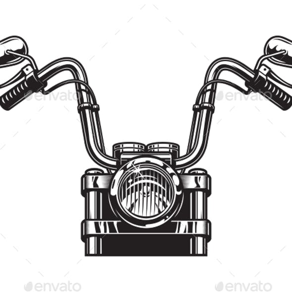 Monochrome Classic Motorcycle Front View Concept