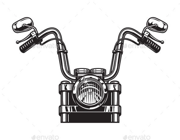 Monochrome Classic Motorcycle Front View Concept - Miscellaneous Vectors