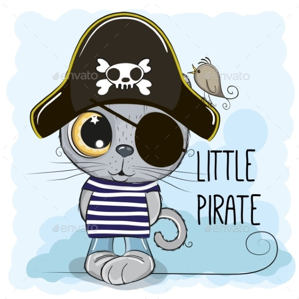 Cartoon Kitten in a Pirate Hat - Animals Characters
