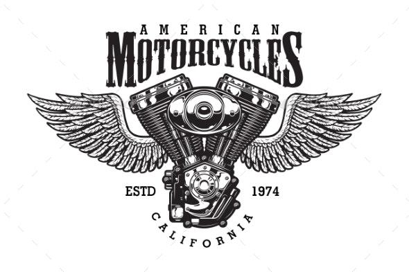 Vintage Monochrome Motorcycle Emblem - Miscellaneous Vectors