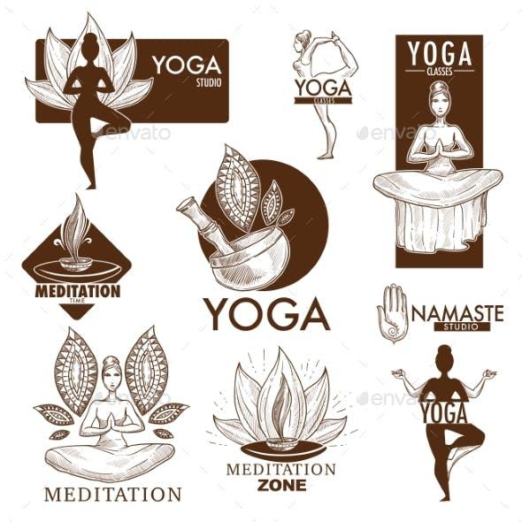 Yoga Meditation Studio Vector Icons
