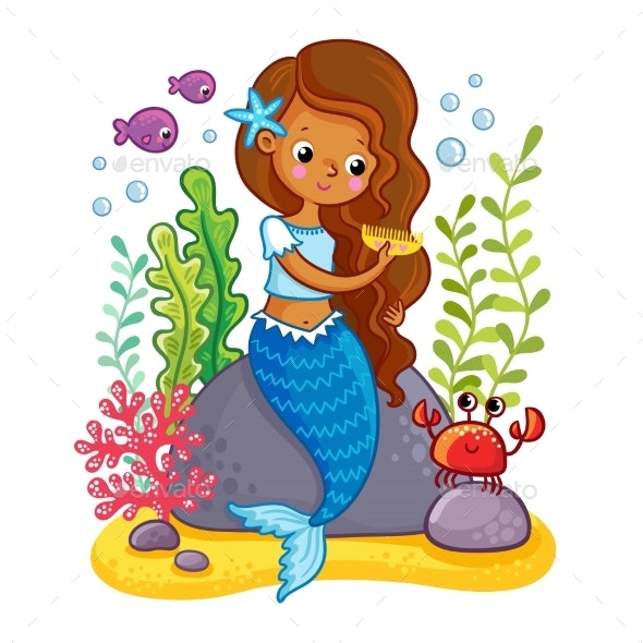 The Mermaid Sits on a Rock and Combs - Animals Characters