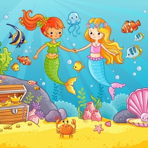 Mermaids Among the Fish Holding Hands