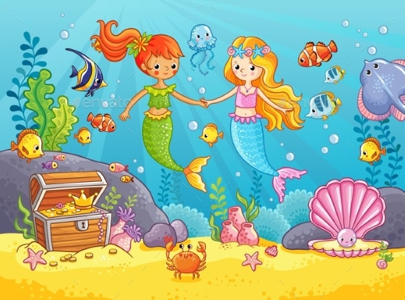 Mermaids Among the Fish Holding Hands - Animals Characters
