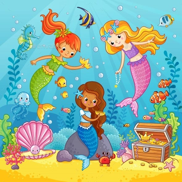 Mermaids Play Under the Water