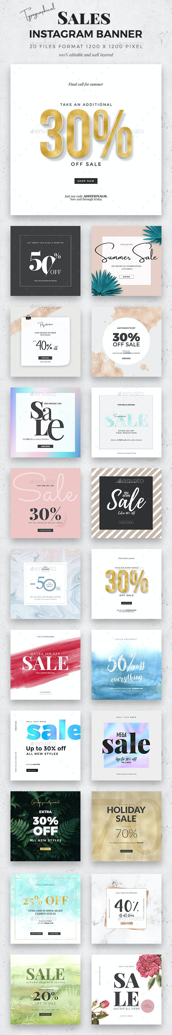 20 Typographical Sale Instagram Banner - Social Media Web Elements
