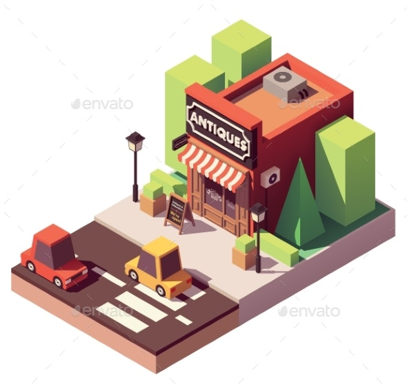 Vector Isometric Antique Shop - Buildings Objects