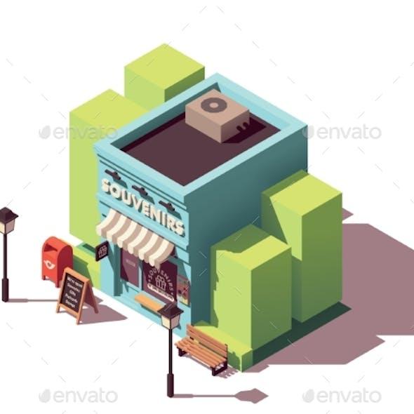 Vector Isometric Souvenir Gift Shop