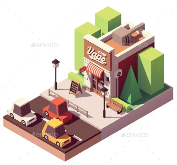 Vector Isometric Vape Shop - Buildings Objects
