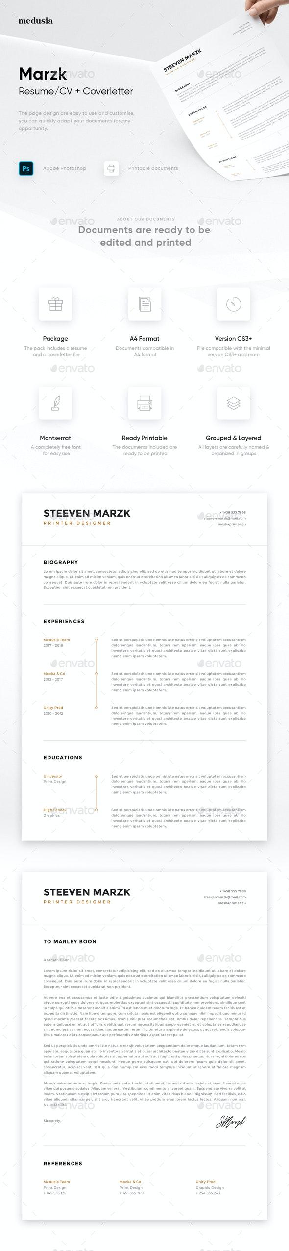 Marzk - Resume/Coverletter - Resumes Stationery