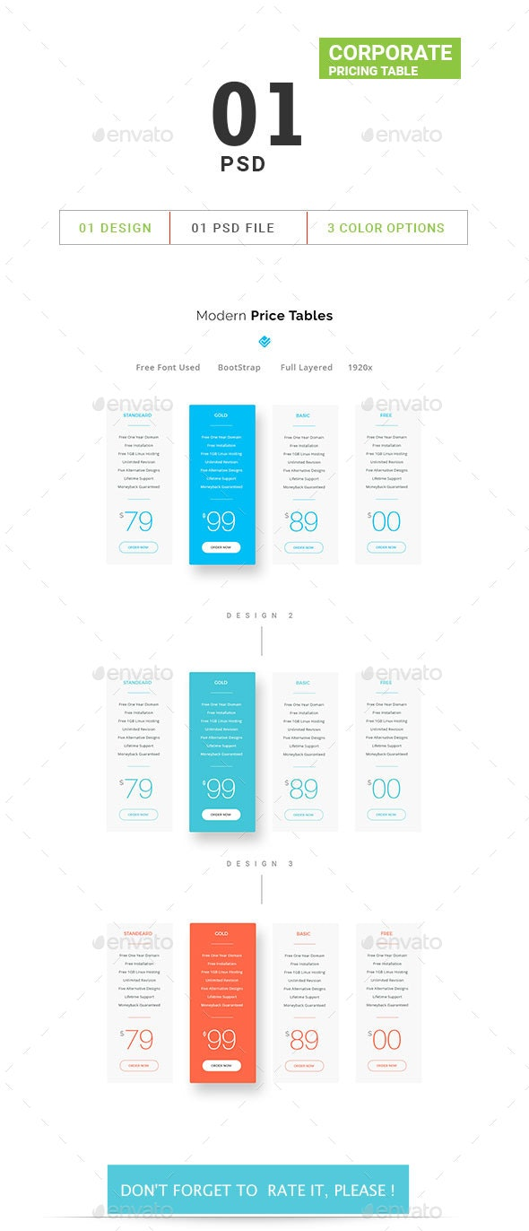Corporate Pricing Table - Tables Web Elements